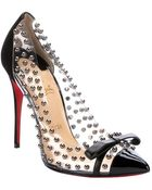 Christian Louboutin Black Patent Leather And Suede 'Bille Et Boule 100' Studded Pumps - Lyst