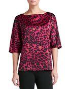 St. John Leopard Print Stretch Silk Charmeuse Bateau Neck Dolman Sleeve Blouse - Lyst
