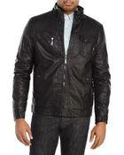 Brave Soul Black Faux Leather Motorcycle Jacket - Lyst
