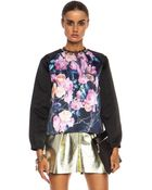 MSGM Colorblocked Silk Duchess Poly Top - Lyst