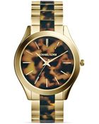 Michael Kors Tortoise-Print & Gold-Tone Runway Watch, 42Mm - Lyst