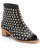 Loeffler Randall Ione Studded Open Toe Leather Ankle Boots - Lyst