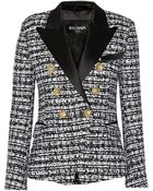 Balmain Satin-Trimmed Tweed Blazer - Lyst