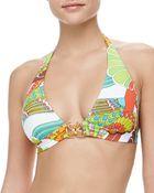 Trina Turk Santa Cruz Buckle-Front Bikini Top - Lyst