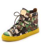Giuseppe Zanotti Strappy Camo Sneakers - Camo - Lyst