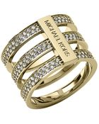 Michael Kors Gold Tone And Crystal Tiered Ring - Lyst