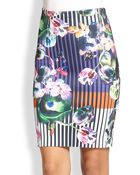 Clover Canyon Night Matador Printed Neoprene Pencil Skirt - Lyst