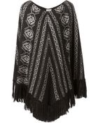 Saint Laurent Patterned Poncho - Lyst