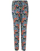 Marc By Marc Jacobs Black Maddy Floral Print Silk Tapered Trousers - Lyst
