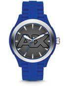 Armani Exchange Armani Exchange Blue Silicone Watch 47mm - Lyst