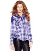 Guess Long-Sleeve Lace-Inset Plaid Blouse - Lyst