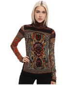 Jean Paul Gaultier Tapestry Tulle Turtleneck With Flocking Detail - Lyst