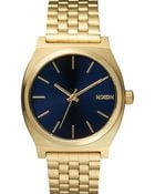 Nixon Light Gold And Cobalt Time Teller Watch - Lyst