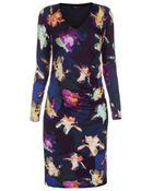 Paul Smith Photogram Iris Long-Sleeve Jersey Dress - Lyst