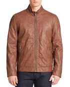 Guess Faux Leather Bomber Jacket - Lyst