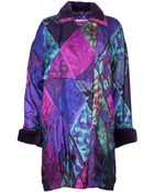 Versace Vintage Abstract Print Quilted Coat - Lyst
