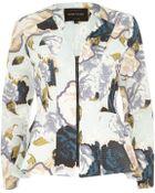 River Island Cream Floral Print Peplum Jacket - Lyst