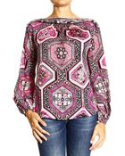 Emilio Pucci Top Long Sleeve Silk Print Suzani - Lyst
