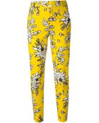 RED Valentino Cropped Floral Print Trousers - Lyst
