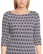 Lauren by Ralph Lauren Plus Size Three-Quarter-Sleeve Geo-Print Top - Lyst