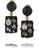 Oscar de la Renta Diamond Rock Gold-Plated, Resin And Crystal Clip Earrings - Lyst