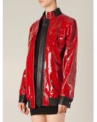 Anthony Vaccarello Colour Block Lacquered Jacket - Lyst