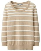Uniqlo Uv Cut Crew Neck Striped 3/4 Sleeve Sweater - Lyst