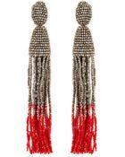 Oscar de la Renta Long Ombre Bead Tassel Clip-On Earrings - Lyst