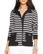 Ralph Lauren Lauren Stripe Cotton Jacket - Lyst