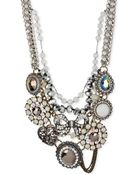 Betsey Johnson Mixed Bow & Crystal Frontal Statement Necklace - Lyst