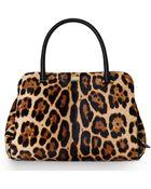 Dolce & Gabbana Leopard Print Pony Hair Satchel - Lyst