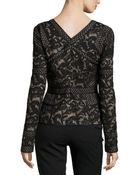 J. Mendel Long-Sleeve Floral Lace Top - Lyst