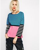 Love Moschino Mixed Print Long Sleeve Sweater With Geisha Zip Detail - Lyst