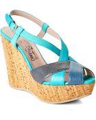 Ferragamo Turquoise Glenna Platform Sandals - Lyst