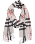 Burberry Stone Check Cashmere Woven 'Giant Icon' Fringe Detail Scarf - Lyst