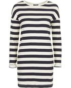 Topshop Striped Ribbed Tunic - Lyst