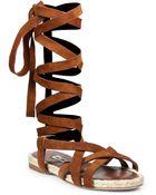 Miu Miu Suede & Espadrille Lace-Up Flat Sandals - Lyst