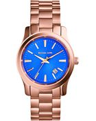 Michael Kors Ladies Rose Gold-Tone Runway Three-Hand Watch - Lyst