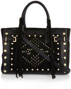 River Island Black Leather Stud Fringed Tote Bag - Lyst