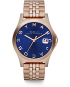 Marc By Marc Jacobs Henry Slim Rose Goldtone Stainless Steel Bracelet Watch/Dark Blue - Lyst