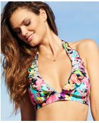 Kenneth Cole Reaction Floralprint Ruffle Halter Bikini Top - Lyst