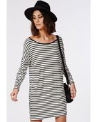 Missguided Long Sleeve Oversized T-Shirt Dress Monochrome Stripe - Lyst