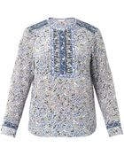 Rebecca Taylor Indian Floral-Print Silk Top - Lyst
