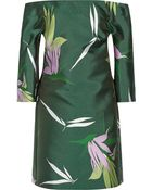 Marni Floral-Print Satin-Twill Mini Dress - Lyst