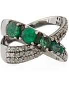 Bavna Emerald  Diamond Pave Crisscross Ring - Lyst