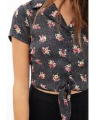 Forever 21 Dotted Floral Tie-Front Blouse - Lyst