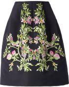 Oscar de la Renta Floral Embroidered Skirt - Lyst