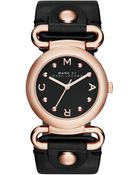 Marc By Marc Jacobs Women'S Molly Black Leather Strap Watch 30Mm Mbm1335 - Lyst