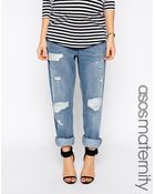 Asos Maternity Low Slung Straight Jeans In Williamsburg Wash With Ny Patches - Lyst