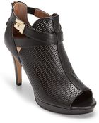 Tommy Hilfiger Leather Colorblock Peep-Toe Bootie - Lyst